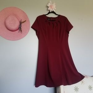 AGB Burgundy Cut Out Flare Dress